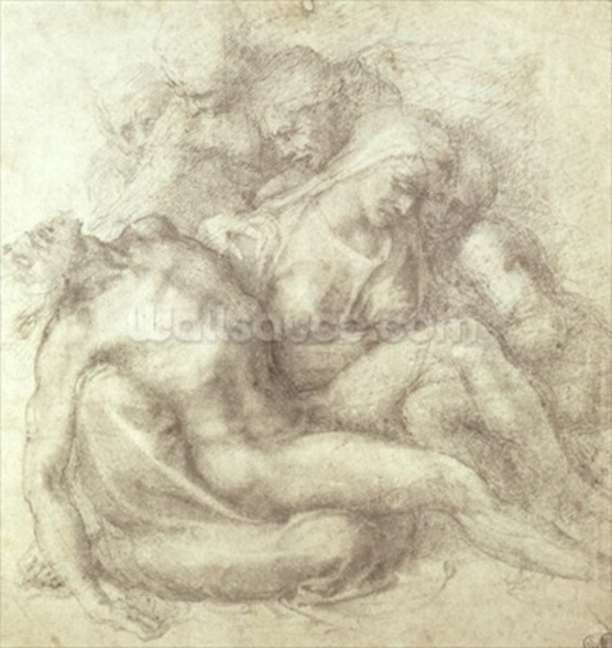 Figures Study for the Lamentation Over the Dead Christ, 1530 (black chalk on paper) wall mural