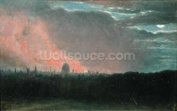 Fire in London seen from Hampstead (oil on paper laid on panel) wall mural
