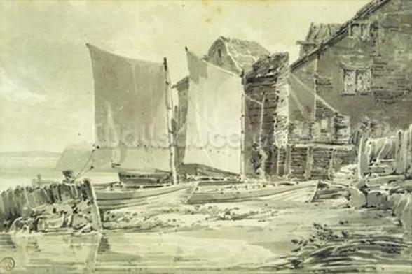 Fishermans Cottage, Dover, 1790s (pencil & grey wash on laid paper) wall mural