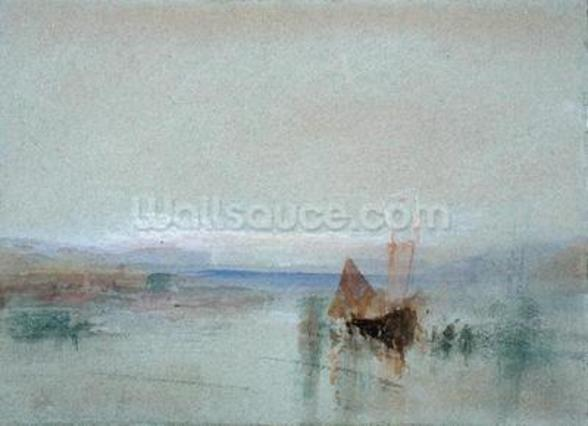 Fishing Boats Becalmed off Le Havre (w/c & bodycolour on blue paper) mural wallpaper