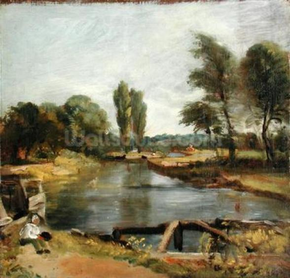 Flatford Lock, 1810-11 (oil on paper on canvas) wall mural