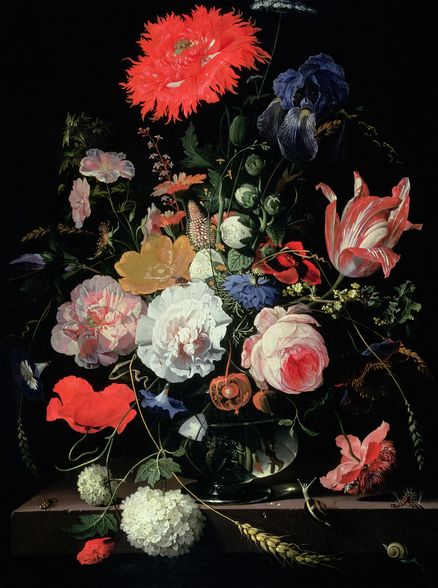 Flower Piece (oil on panel), by Abraham Mignon wall mural