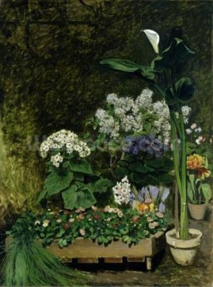 Flowers in a Greenhouse, 1864 (oil on canvas) wall mural