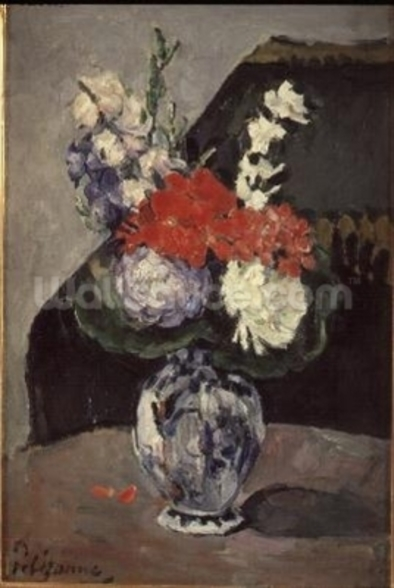 Flowers in a Small Delft Vase, c.1873 (oil on canvas) wallpaper mural