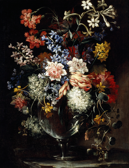 Flowers in a vase on a ledge, 17th century (oil on canvas), by Nicolas Baudesson mural wallpaper