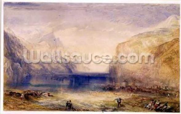 Fluelen: Morning (looking towards the lake) 1845 (w/c and gouache with scratching out on wove paper) wall mural