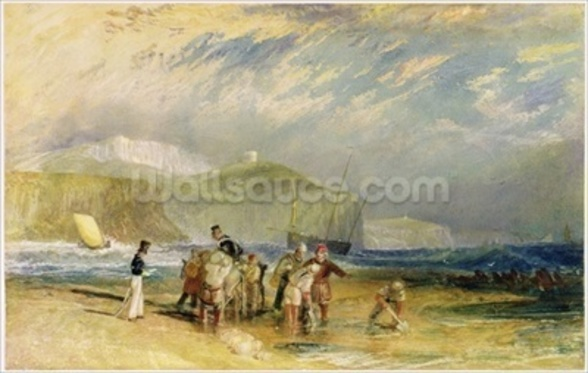 Folkestone Harbour and Coast to Devon, c.1830 (w/c and gouache on paper) mural wallpaper