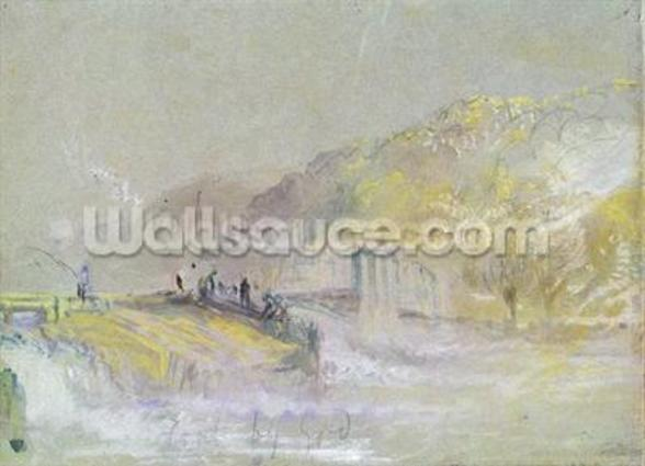 Foul by God: River Landscape with Anglers Fishing from a Weir, c.1830 (w/c & bodycolour with pencil & chalk on paper) wallpaper mural