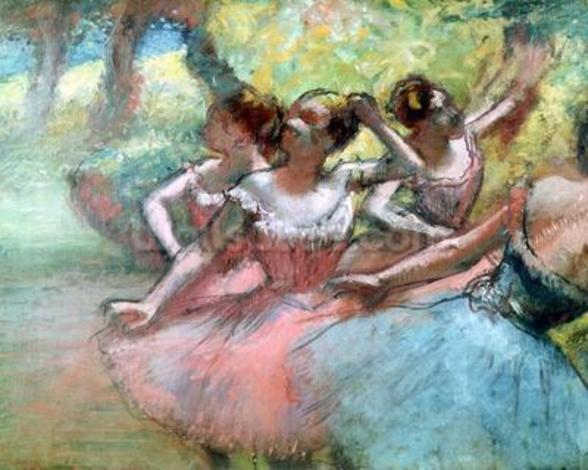 Four ballerinas on the stage (pastel) wall mural