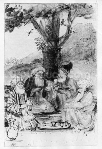 Four orientals seated under a tree, c.1659 (pen, ink & wash on paper) wall mural