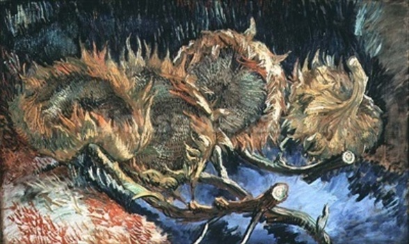 Four Withered Sunflowers, 1887 (oil on canvas) wall mural