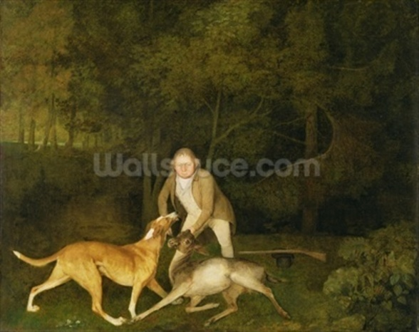 Freeman, the Earl of Clarendons Gamekeeper, With a Dying Doe and Hound, 1800 (oil on canvas) wallpaper mural