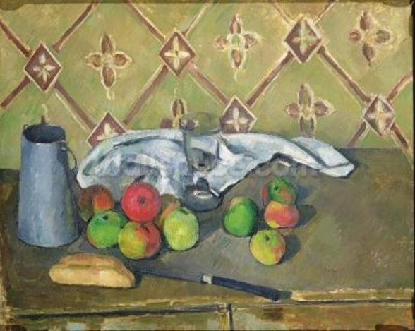 Fruit, Serviette and Milk Jug, c.1879-82 (oil on canvas) mural wallpaper