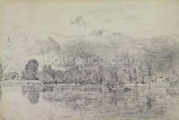 Fulham church from across the River, 1818 (graphite on paper) wall mural