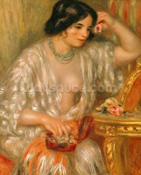 Gabrielle with Jewellery, 1910 (oil on canvas) wallpaper mural