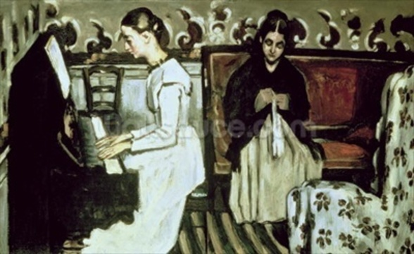 Girl at the Piano (Overture to Tannhauser), 1868-69 (oil on canvas) mural wallpaper