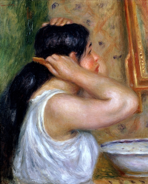 Girl Combing her Hair, 1907-8 (oil on canvas) wall mural