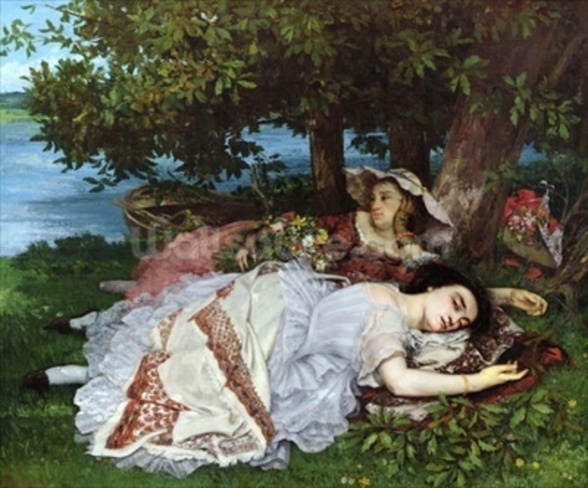 Girls on the Banks of the Seine, 1856-57 (oil on canvas) mural wallpaper