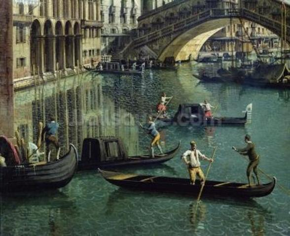 Gondoliers near the Rialto Bridge, Venice (oil on canvas) wallpaper mural