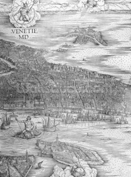 Grande Pianta Prospettica - Venice, c.1500 (engraving) (middle section) wallpaper mural
