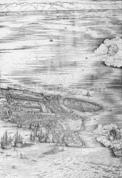 Grande Pianta Prospettica - Venice, c.1500 (engraving) (right hand side) mural wallpaper