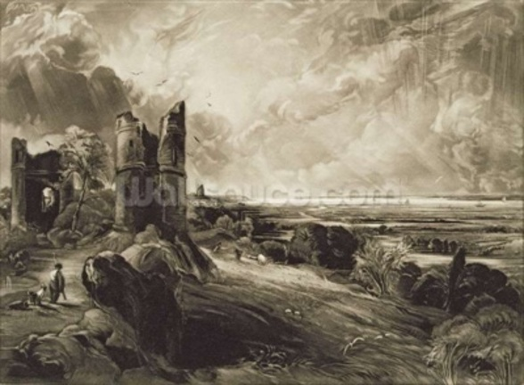 Hadleigh Castle, engraved by David Lucas (1802-81) c.1832 (mezzotint with etching) mural wallpaper