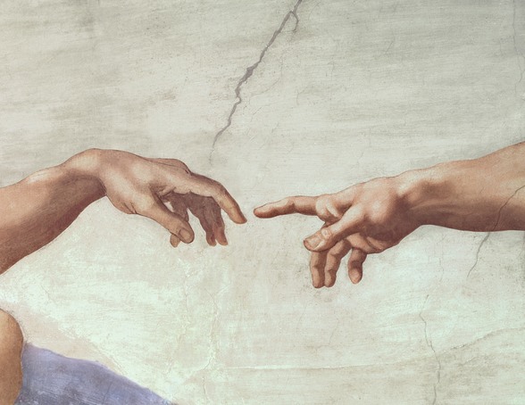 Hands of God and Adam, detail from The Creation of Adam, from the Sistine Ceiling, 1511 (fresco) (pre restoration) wall mural