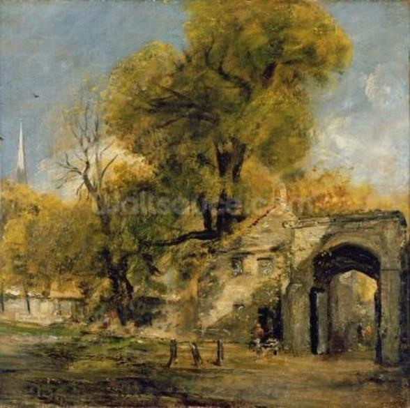 Harnham Gate, Salisbury, c.1820-21 (oil on canvas) wall mural