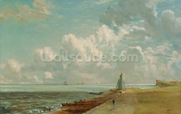 Harwich, The Low Lighthouse and Beacon Hill, c.1820 (oil on canvas) mural wallpaper