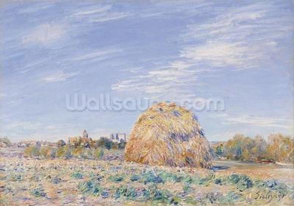 Haystack on the Banks of the Loing, 1891 (oil on canvas) mural wallpaper