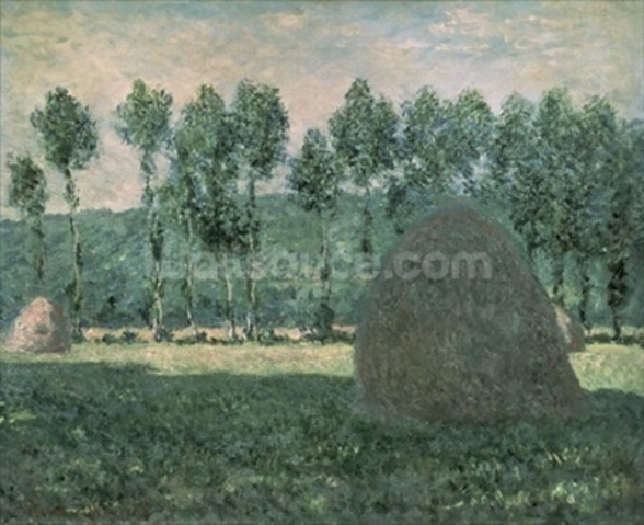 Haystacks near Giverny, c.1884-89 (oil on canvas) wallpaper mural