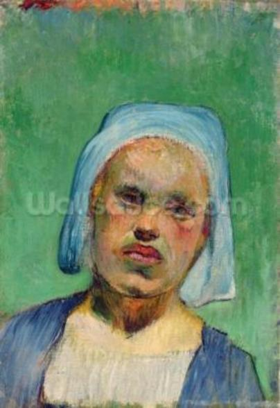 Head of a Breton (oil on canvas) mural wallpaper