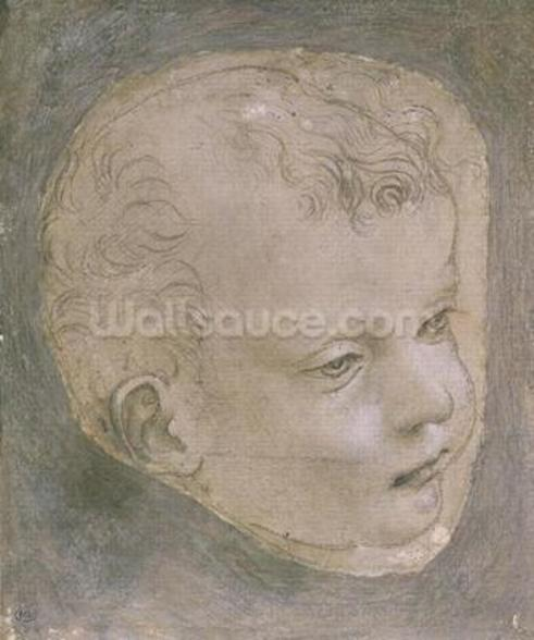 Head of a Child (pencil on paper) mural wallpaper