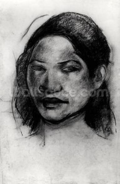 Head of a Tahitian (charcoal on paper) (b/w photo) wall mural