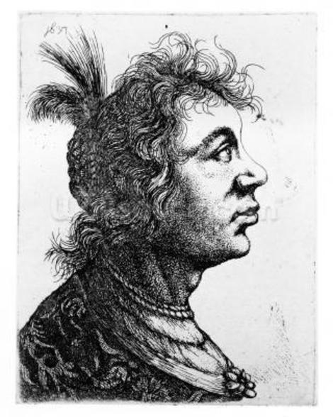 Head of a woman, 1637 (etching) wall mural