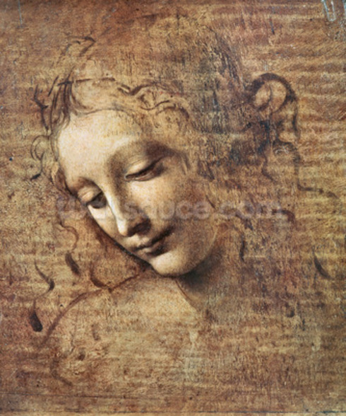 Head of a Young Woman with Tousled Hair or, Leda (gouache on wood) wall mural