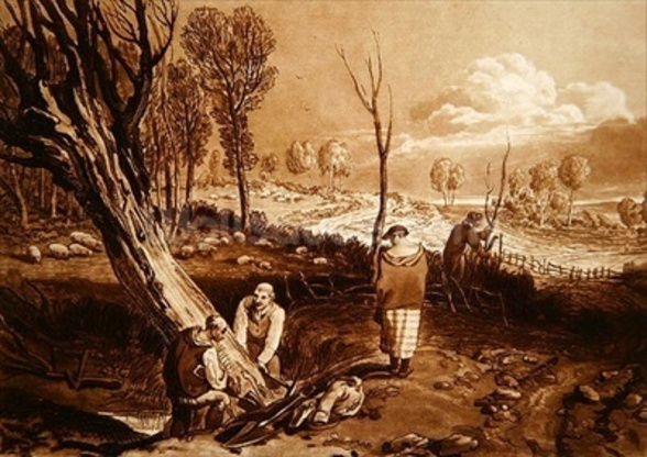 Hedging and Ditching, c.1860 (etching) wallpaper mural
