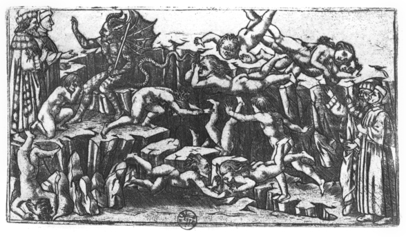 Hell, from The Divine Comedy by Dante Alighieri (1265-1321) (engraving) (b/w photo) mural wallpaper