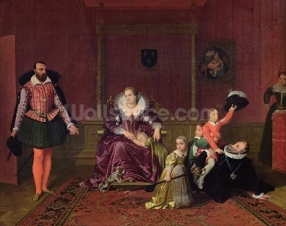 Henri IV (1553-1610) King of France and Navarre Playing with his Children as the Ambassador of Spain Makes his Entrance, 1817 (oil on canvas) wall mural