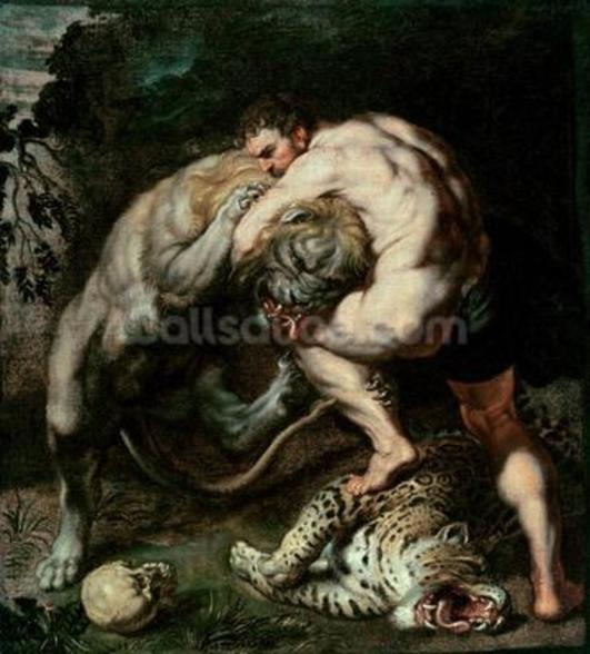 Hercules Fighting the Nemean Lion (oil on canvas) mural wallpaper