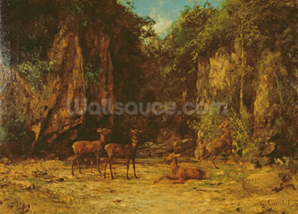 Herd of Red Deer at Dusk (oil on canvas) mural wallpaper
