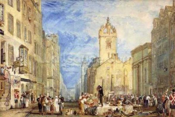 High Street, Edinburgh, c.1818 (w/c, pen, ink, graphite and scratching out on wove paper) mural wallpaper