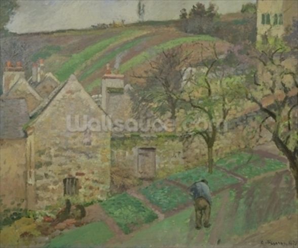 Hillside of the Hermitage, Pontoise, 1873 (oil on canvas) mural wallpaper