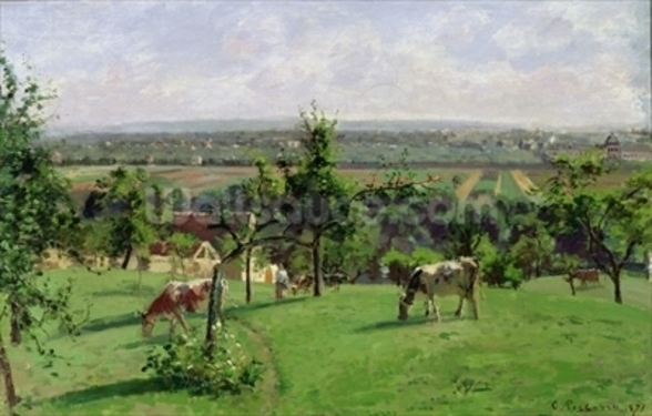 Hillside of Vesinet, Yvelines, 1871 (oil on canvas) mural wallpaper