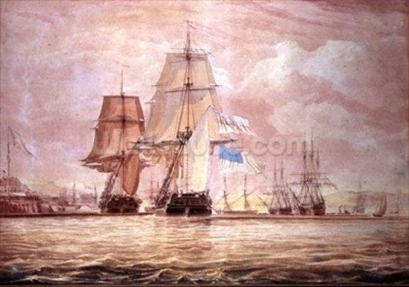 HMS Shannon leading the Chesapeake into Halifax Harbour, 1813 (w/c) wall mural