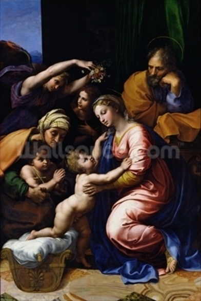 Holy Family (known as the Grande Famille of Francois I), 1518 (oil on canvas) wall mural