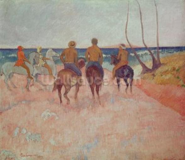 Horseman on the Beach (Hiva Hoa) 1902 (oil on canvas) mural wallpaper