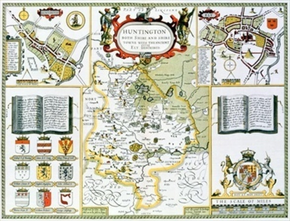 Huntington, engraved by Jodocus Hondius (1563-1612) from John Speeds Theatre of the Empire of Great Britain, pub. by John Sudbury and George Humble, 1611-12 (hand coloured copper engraving) wall mural