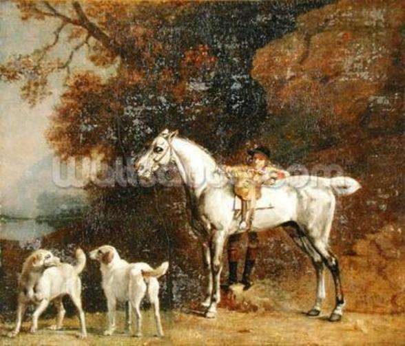 Huntsman with a Grey Hunter and Two Foxhounds: details from the Goodwood Hunting picture, 1760-61 (oil on four pieces of paper conjoined on canvas) wall mural