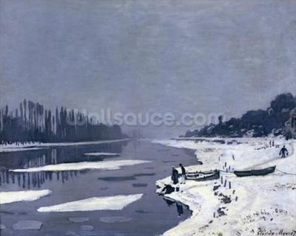 Ice floes on the Seine at Bougival, c.1867-68 (oil on canvas) wallpaper mural